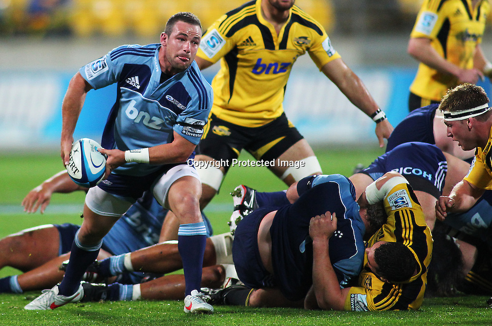 Alby Mathewson clears a ruck during their Super Rugby match, Hurricanes v Blues, Westpac stadium, Wellington, New Zealand. Friday 4 May 2012.  PHOTO: Grant Down / photosport.co.nz