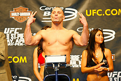April 18, 2008; Montreal, Quebec, CAN;  UFC Welterweight Champion Matt Serra weighs in for his title defense against George St. Pierre at UFC 83.  The two will meet on Saturday night at the Bell Centre in Montreal, Canada.