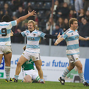 Brian Ormson, Argentina (facing) celebrates with team mate Eduardo Lopez, (19)  after a close victory over Ireland during the Argentina V Ireland group stage match at Estadio El Coloso del Parque, Rosario, Argentina, during the IRB Junior World Championships. 13th June 2010. Photo Tim Clayton.....