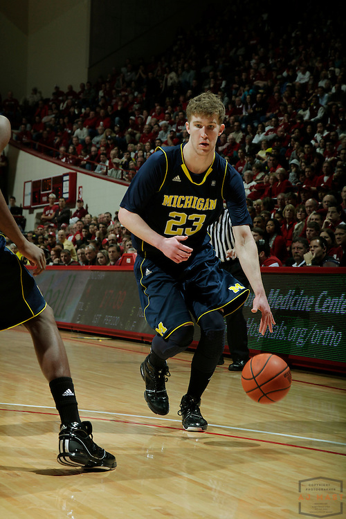 15 January 2011: Michigan Wolverines forward Evan Smotrycz (23) as the Indiana Hoosiers played the Michigan Wolverines in a college basketball game in Bloomington, Ind.