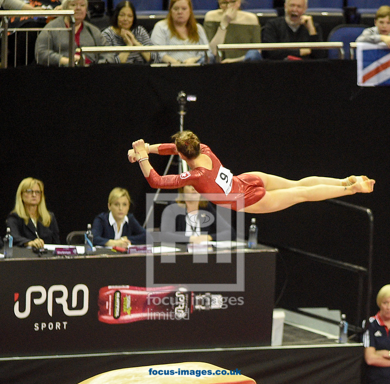 Illaria Kaeslin on the vault Women's iPro World Cup of Gymnastics 2017 at the O2 Arena, London, UK.<br /> Picture by Hannah Fountain/Focus Images Ltd 07814482222<br /> 08/04/2017