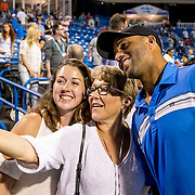 August 25, 2016, New Haven, Connecticut: <br /> James Blake poses for a selfie photograph with fans during the Men's Legends Event on Day 7 of the 2016 Connecticut Open at the Yale University Tennis Center on Thursday, August  25, 2016 in New Haven, Connecticut. <br /> (Photo by Billie Weiss/Connecticut Open)