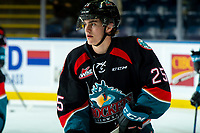 KELOWNA, CANADA - SEPTEMBER 22: Kyle Crosbie #25 of the Kelowna Rockets warms up against the Kamloops Blazers on September 22, 2018 at Prospera Place in Kelowna, British Columbia, Canada.  (Photo by Marissa Baecker/Shoot the Breeze)  *** Local Caption ***