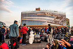 Refugees and migrants arrive, from Moria camp in Lesvos, at the port of Piraeus near Athens, Greece, on November 12, 2019<br /> <br /> Pictured: <br /> Dimitris Lampropoulos  | EEm date