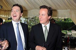 Left to right, GEORGE OSBORNE MP and DAVID CAMERON MP  at the Spectator Summer Party held at 22 Old Queen Street, London SW1 on 3rd July 2008.<br />