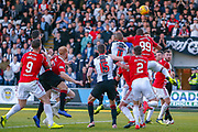 Marios Ogkmpoe of Hamilton heads the ball clear during the Ladbrokes Scottish Premiership match between St Mirren and Hamilton Academical FC at the Paisley 2021 Stadium, St Mirren, Scotland on 13 May 2019.