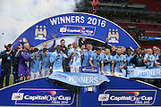 Manchester City  win the cup during the Capital One Cup match between Liverpool and Manchester City at Anfield, Liverpool, England on 28 February 2016. Photo by Simon Davies.