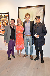 Left to right, LUC FLOREANI,  LEE SHARROCK, DAN OLSEN and STUART WATTS at a private view of the exhibition Transcending Boundaries 2015 held at Lacey Contemporary Gallery, Clarendon Cross, Notting Hill, London on 30th April 2015.