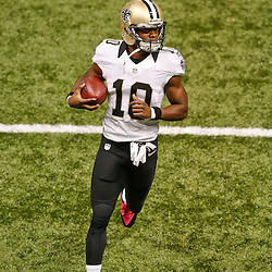 Oct 5, 2014; New Orleans, LA, USA; New Orleans Saints wide receiver Brandin Cooks (10) against the Tampa Bay Buccaneers prior to kickoff of a game at Mercedes-Benz Superdome. Mandatory Credit: Derick E. Hingle-USA TODAY Sports