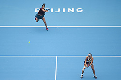 BEIJING, Oct. 7, 2017  Peng Shuai of China and Sania Mirza (L) of India compete during the women's doubles semifinal match against Chan Yung-Jan of Chinese Taipei and Martina Hingis of Switzerland at the China Open tennis tournament in Beijing on Oct. 7, 2017. Peng and Mirza lost 1-2.  wll) (Credit Image: © Ju Huanzong/Xinhua via ZUMA Wire)