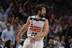 May 31, 2017 - Madrid, Madrid, Spain - Sergio Llul, #23 of Real Madrid celebrates during the first game of the semifinals of basketball Endesa league between Real Madrid and Unicaja de Málaga. (Credit Image: © Jorge Sanz/Pacific Press via ZUMA Wire)