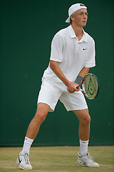 LONDON, ENGLAND - Tuesday, June 29, 2010: Liam Broady (GBR) during the Boys' Singles 2nd Round match on day eight of the Wimbledon Lawn Tennis Championships at the All England Lawn Tennis and Croquet Club. (Pic by David Rawcliffe/Propaganda)