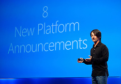 Joe Belfiore, Corporate Vice President Microsoft, previews new features of Windows Phone 8 during a Microsoft Developer Summit in San Francisco, California.