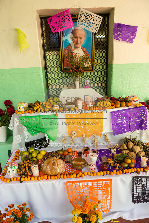 A altar or ofrendas set up to celebrate the Day of the Dead festival known in Spanish as Día de Muertos October 31, 2013 in Oaxaca, Mexico.