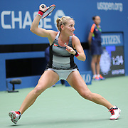 2016 U.S. Open - Day 6  Timea Babos of Hungary in action against Simona Halep of Romania in the Women's Singles round three match on Arthur Ashe Stadium on day six of the 2016 US Open Tennis Tournament at the USTA Billie Jean King National Tennis Center on September 3, 2016 in Flushing, Queens, New York City.  (Photo by Tim Clayton/Corbis via Getty Images)