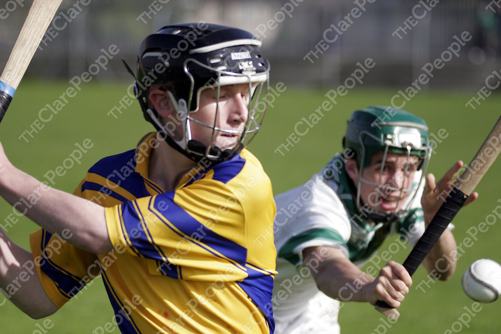 Ennis' Owen Hanrahan holds his concentration and makes the clearance during their clash with Kilmallock in Limerick on Wednesday.<br />