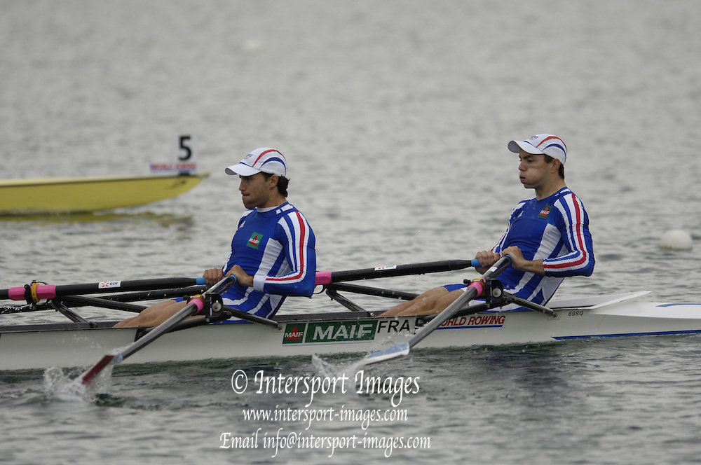 Munich, GERMANY, 2006, FRA M2X No. 3 Bow Cedric Berrest, Frederic Perrier.  Start,  FISA, Rowing, World Cup,  on the Olympic Regatta Course, Munich, Fri. 26.05.2006. © Peter Spurrier/Intersport-images.com,  / Mobile +44 [0] 7973 819 551 / email images@intersport-images.com.[Mandatory Credit, Peter Spurier/ Intersport Images] Rowing Course, Olympic Regatta Rowing Course, Munich, GERMANY