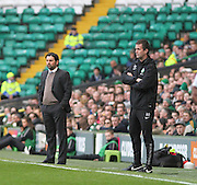 Celtic boss Ronnie Delia and Dundee manager Paul Hartley -  Celtic v Dundee - SPFL Premiership at Celtic Park<br /> <br /> <br />  - © David Young - www.davidyoungphoto.co.uk - email: davidyoungphoto@gmail.com