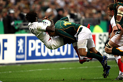 Oct 20, 2007 - Paris, France - Rugby World Cup 2007: Paul Sackey against Bryan Habana. South Africa beat England 15-6 in the final match to win the Cup.  (Credit Image: © JB AUTISSIER/Fep/Panoramic/ZUMA Press)