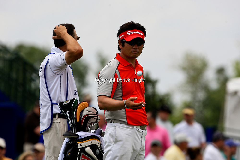 2009 April 26: Y.E. Yang of Jeju Island South Korea prepares to tee off from the 18th hole during the final round of the Zurich Classic of New Orleans PGA Tour golf tournament played at TPC Louisiana in Avondale, Louisiana.Yang on August 16, 2009 became the first Asian born PGA Player to win a major with his win in the PGA Championship in Chaska, Minnesota.