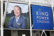 Image of Vichai Srivaddhanaprabha outside The King Power Stadium and looking at all the memorial shirts before the Premier League match between Leicester City and Burnley at the King Power Stadium, Leicester, England on 10 November 2018.