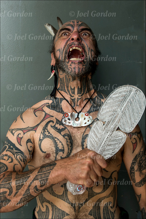 George Nuku performing &quot;Pukana&quot;, a non verbal communication.  <br />