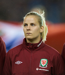 LONDON, ENGLAND - Saturday, October 26, 2013: Wales' Kylie Davies before the FIFA Women's World Cup Canada 2015 Qualifying Group 6 match against England at the New Den. (Pic by David Rawcliffe/Propaganda)