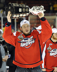 Stephen Johnston and the Windsor Spitfires won the 2010 MasterCard Memorial Cup in Brandon, MB with a 9-1 win over the host Wheat Kings on Sunday May 23. Photo by Aaron Bell/CHL Images