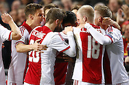 Onderwerp/Subject: Ajax - Champions League<br /> Reklame:  <br /> Club/Team/Country: <br /> Seizoen/Season: 2013/2014<br /> FOTO/PHOTO: Danny HOESEN (C) of Ajax celebrating his goal with Niklas MOISANDER (L) of Ajax and Lasse SCHONE (C) of Ajax and Davy KLAASSEN (R) of Ajax and Viktor FISCHER (RR) of Ajax. (Photo by PICS UNITED)<br /> <br /> Trefwoorden/Keywords: <br /> #02 $94 &plusmn;1377840750319<br /> Photo- &amp; Copyrights &copy; PICS UNITED <br /> P.O. Box 7164 - 5605 BE  EINDHOVEN (THE NETHERLANDS) <br /> Phone +31 (0)40 296 28 00 <br /> Fax +31 (0) 40 248 47 43 <br /> http://www.pics-united.com <br /> e-mail : sales@pics-united.com (If you would like to raise any issues regarding any aspects of products / service of PICS UNITED) or <br /> e-mail : sales@pics-united.com   <br /> <br /> ATTENTIE: <br /> Publicatie ook bij aanbieding door derden is slechts toegestaan na verkregen toestemming van Pics United. <br /> VOLLEDIGE NAAMSVERMELDING IS VERPLICHT! (&copy; PICS UNITED/Naam Fotograaf, zie veld 4 van de bestandsinfo 'credits') <br /> ATTENTION:  <br /> &copy; Pics United. Reproduction/publication of this photo by any parties is only permitted after authorisation is sought and obtained from  PICS UNITED- THE NETHERLANDS