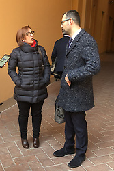 MOGLIE DI MARCO RAVAGLIA CON AVVOCATO DENIS LOVISON<br /> UDIENZA PROCESSO IGOR VACLAVIC NORBERT FEHER BOLOGNA