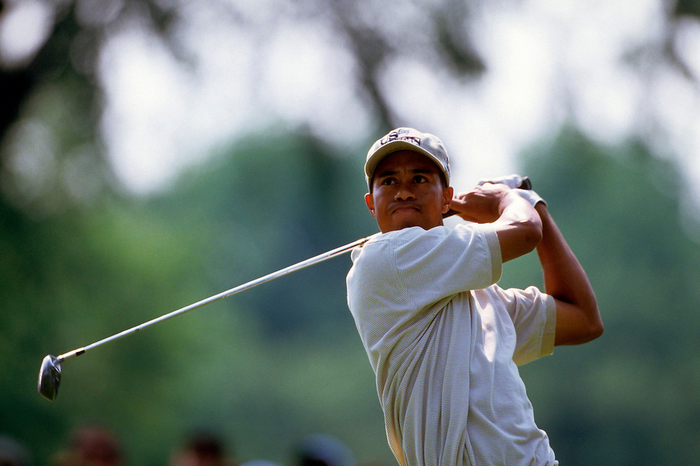 Tiger Woods at the 1996 U.S. Open Championship held at  Oakland Hills Country Club, South Course in Bloomfield Hills, Michigan.