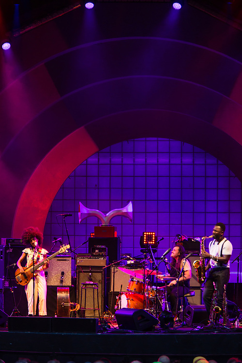 Brooklyn, NY - 28 July 2017. A crowd estimated at 9,000 filled the Prospect Park Bandshell, with an estimated 3,000 outside the fence, for a concert by Esperanza Spalding and Andrew Bird at the BRIC Celebrate Brooklyn! Festival.