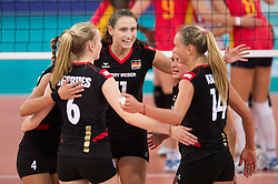 06.09.2013, Gery Weber Stadion, Halle, GER, Volleyball EM 2013, Deutschland vs Spanien, im Bild,, Jubel Deutschland, Maren Brinker (#4 GER), Jennifer Geerties (#6 GER), Christiane Fuerst (#11 GER), Kathleen Weiss (#2 GER), Margareta Kozuch (#14 GER) // during the volleyball european championchip match between Germany and Spain at the Gery Weber Stadion in Halle, Germany on 2013/09/06. EXPA Pictures © 2013, PhotoCredit: EXPA/ Eibner/ Kurth<br /> <br /> ***** ATTENTION - OUT OF GER *****