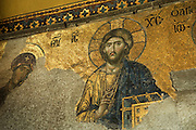 Original Byzantine mosaics dating from the 9th century on the upper walls, Haghia Sophia, Sultanahmet. Detail from Deesis Mosaics, South Gallery.