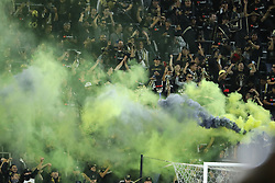 April 29, 2018 - Los Angeles, CA, U.S. - LOS ANGELES, CA - APRIL 29: Los Angeles FC fans go wild after an unexpected goal in extra time leads to a 1-0 victory over Seattle in the game between the Saettle Sounders FC and Los Angeles FC on April 29, 2018 at Banc of California Stadium in Los Angeles, CA. (Photo by Peter Joneleit/Icon Sportswire) (Credit Image: © Peter Joneleit/Icon SMI via ZUMA Press)