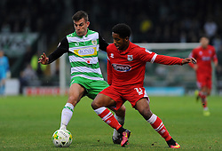 Alex Lacey of Yeovil Town jostles with Rhys Browne of Grimsby Town- Mandatory by-line: Nizaam Jones/JMP - 29/10/2016/ - FOOTBALL - Hush Park - Yeovil, England - Yeovil Town v Grimsby Town - Sky Bet League Two