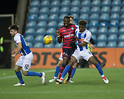 13th February 2018, Rugby Park, Kilmarnock, Scotland; Scottish Premiership football, Kilmarnock versus Dundee; Genseric Kusunga of Dundee battles for the ball with Aaron Tshibola of Kilmarnock