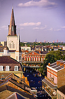 Overview looking to Saint Louis Cathedral and  Jackson Square (Place d'Armes), French Quarter, New Orleans, Louisiana USA