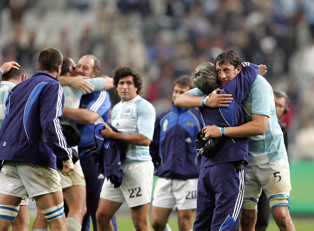 Patrico Alabcete celebrates at the end of the game. Argentina v Scotland (19 - 13) Stade de France, St Dennis, 07/10/2007, Quarter Final Match 44. Rugby World Cup 2007..