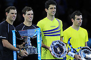 Doubles Winners Bob Bryan and Mike Bryan and Loosers Ivan Dodig and Marcelo Melo during the Mens Doubles Final of the Barclays ATP World Tour Finals, O2 Arena, London, United Kingdom on 16 November 2014 © Pro Sports Images