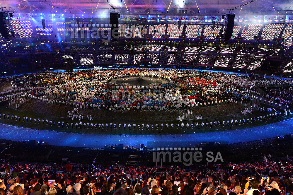 LONDON, ENGLAND - JULY 27, a general view of the inside of the stadium during London Olympics Opening Ceremony at the Olympic Stadium on July 27, 2012 in London, England.Photo by Roger Sedres / Gallo Images