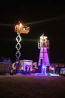 I ran into these guys at the Grand Sierra in Reno while walking the dogs. They had like a fleet of 6 big fifth wheels and a full size semi truck with a forklift, and  this scissor lift on it. Some burners really go hard. I can't remember the name of their crew. My Burning Man 2018 Photos:<br />