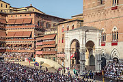 Italy, Siena, the Palio: final flag parade before the race