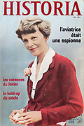 Front cover of issue no. 261 of Historia, a monthly history magazine, published August 1968, featuring an article on the aviator Amelia Earhart being executed for spying for America. Historia was created by Jules Tallandier and published 1909-37 and again from 1945. Picture by Manuel Cohen