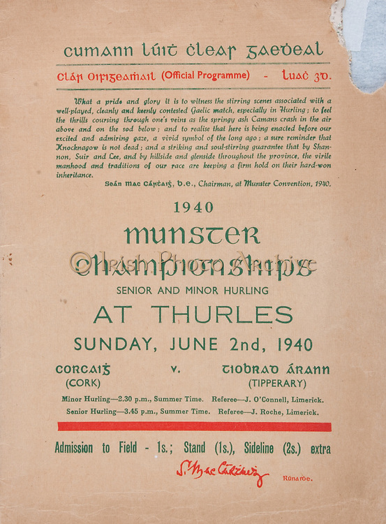 Munster Senior and Minor Hurling Championships,.02.06.1940, 06.02.1940, 2nd June 1940,.02061940MSMHCSF,..Cork v Tipperary,