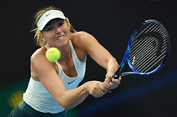 BEIJING, Oct. 4, 2017  Maria Sharapova of Russia returns the ball during the women's singles third round match against Simona Halep of Romania at 2017 China Open tennis tournament in Beijing, capital of China, Oct. 4, 2017. Simona Halep won 2-0. (Credit Image: © Ju Huanzong/Xinhua via ZUMA Wire)