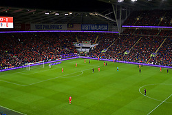 CARDIFF, WALES - Sunday, October 13, 2019: BT sponsorship on the electronic advertising boards the UEFA Euro 2020 Qualifying Group E match between Wales and Croatia at the Cardiff City Stadium. (Pic by Paul Greenwood/Propaganda)