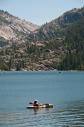 Pinecrest Lake, Watersports, Kayaker, Kayaking, Pinecrest, California, USA.  Photo copyright Lee Foster.  Photo # california122490