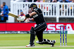 Martin Guptill of New Zealand plays a misses a wide delivery off the first ball of the match - Mandatory by-line: Robbie Stephenson/JMP - 14/07/2019 - CRICKET - Lords - London, England - England v New Zealand - ICC Cricket World Cup 2019 - Final