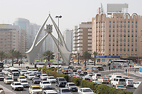 Dubai, UAE, Traffic is backed up in all directions at the Clock Tower roundabout on Al-Maktoum Road.